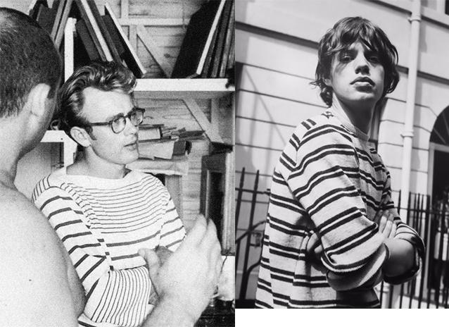 James Dean (trái) và Mick Jagger trong những biến tấu của chiếc áo Brenton