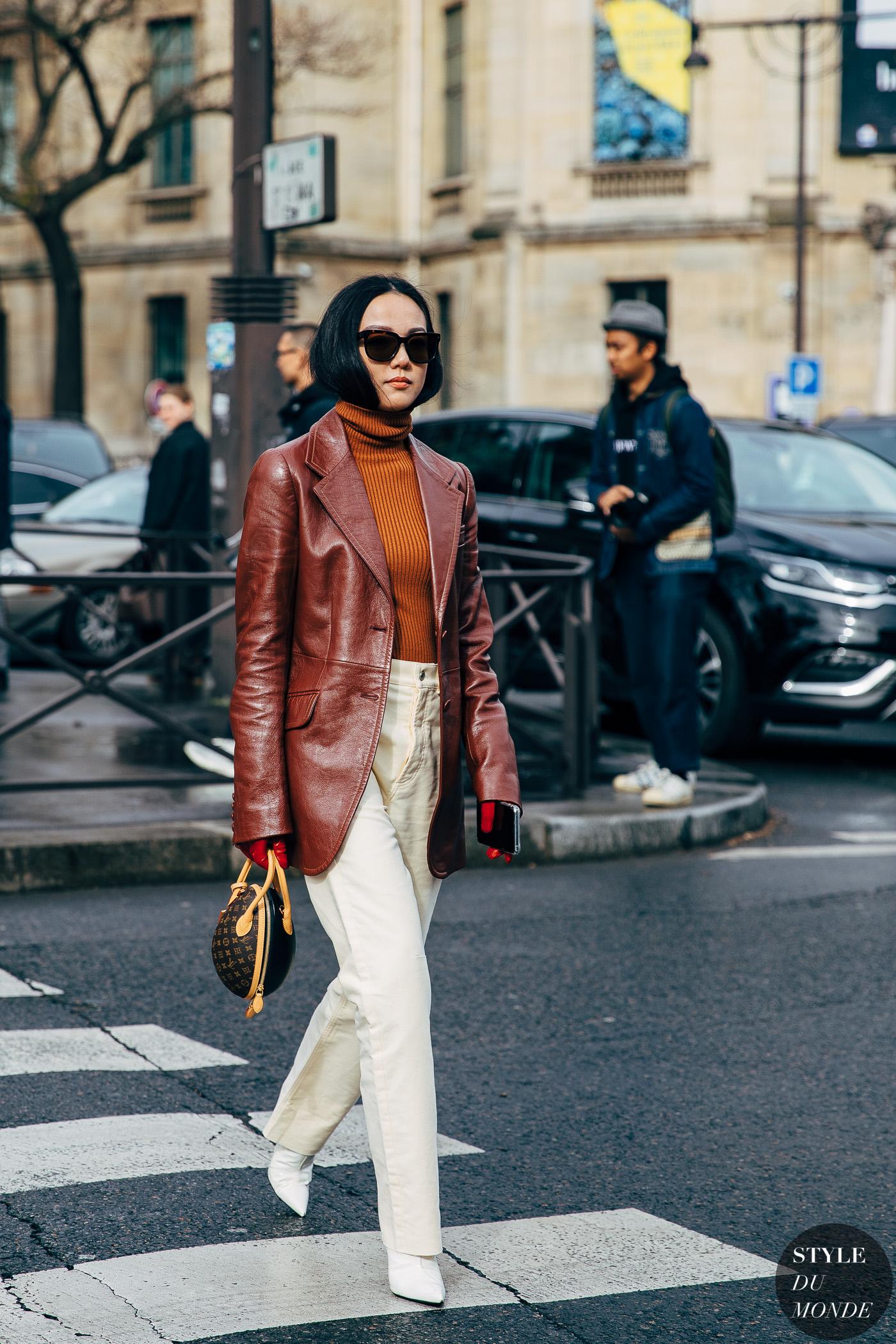 thời trang mùa thu - áo khoác blazer da bóng