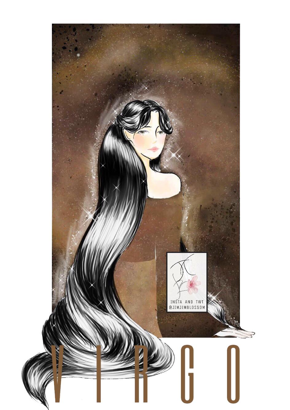Cung hoàng đạo Xử Nữ với biểu tượng cô gái có mái tóc đen dài