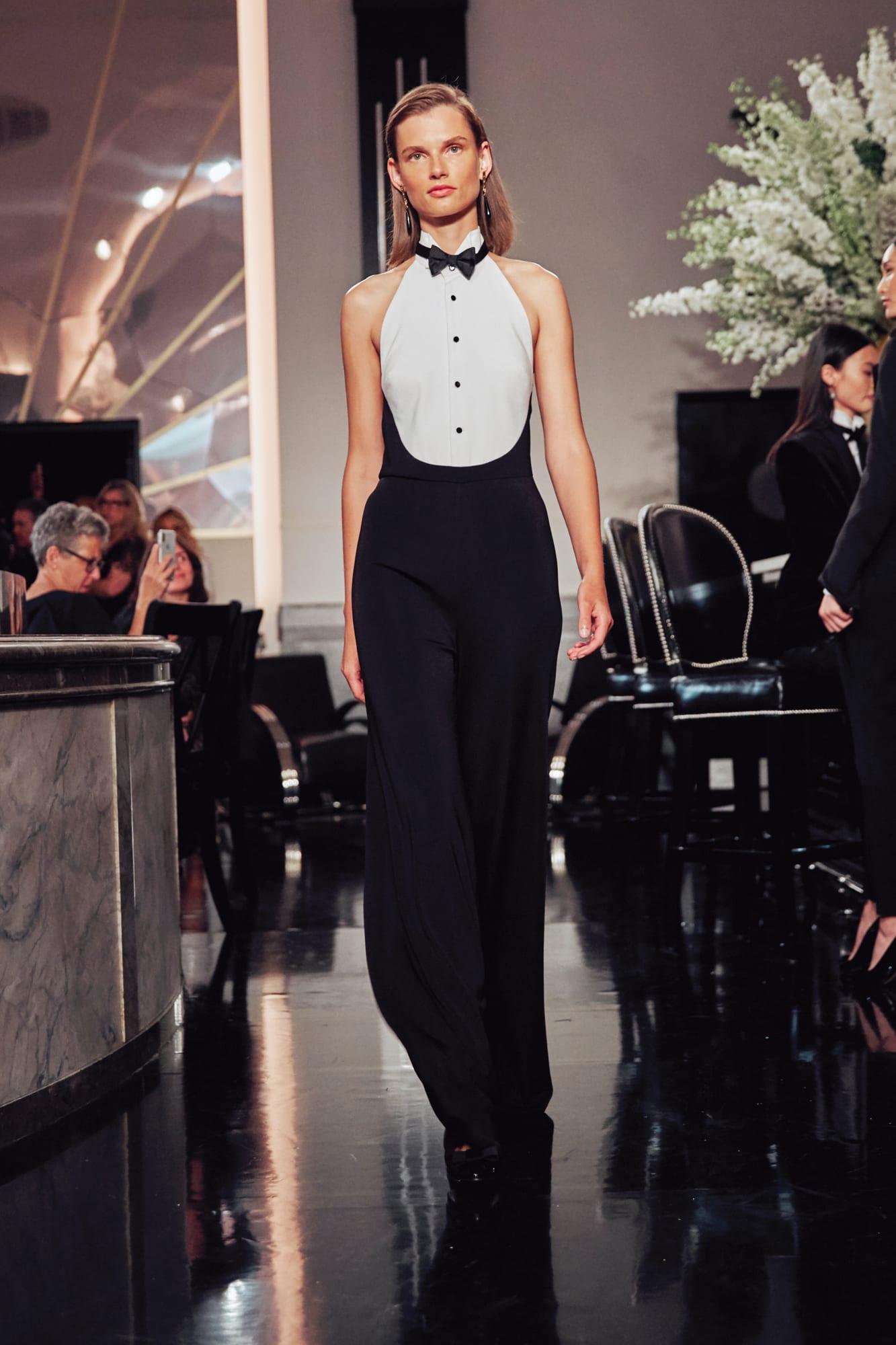 tuxedo trắng đen ralph lauren thu đông 2019