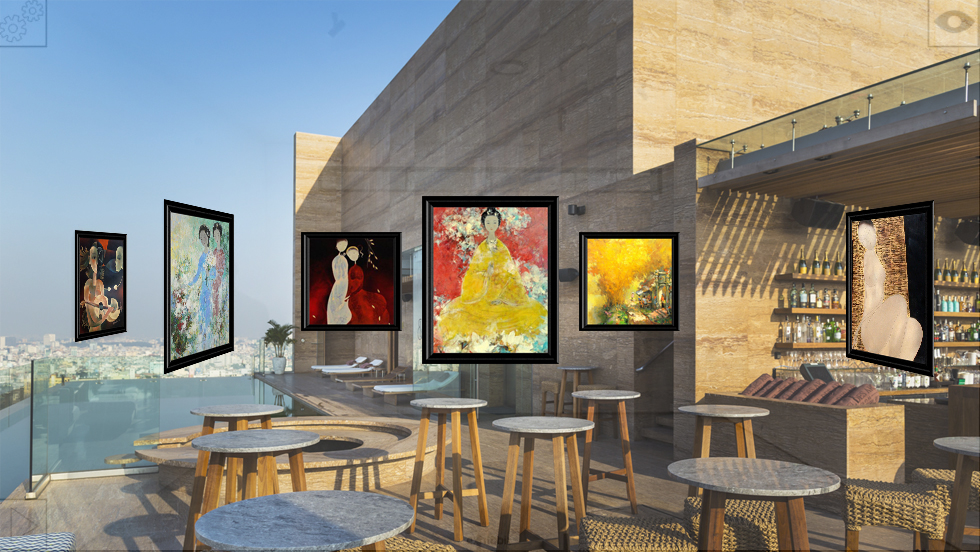 Virtual gallery on rooftop