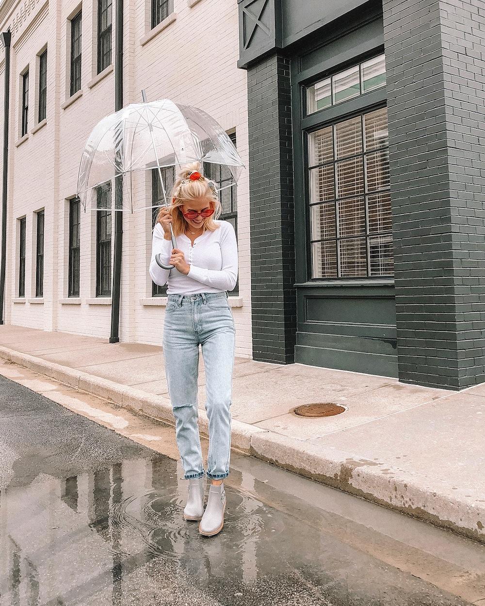 bảo quản quần áo mùa mưa cô gái cầm ô đứng dưới mưa - feature