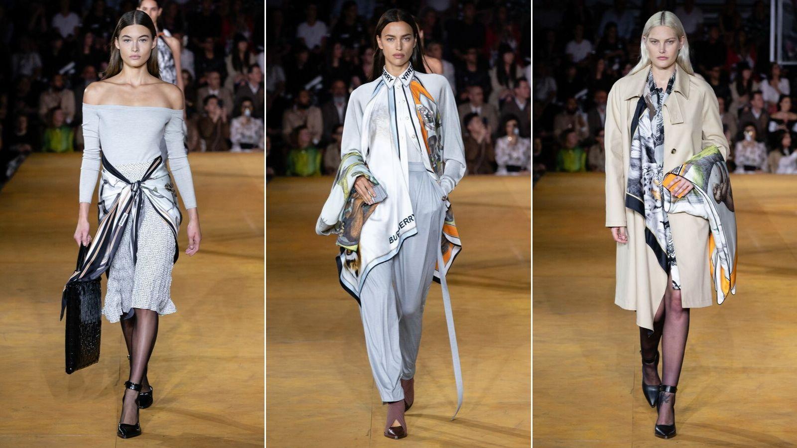 biến tấu với khăn lụa burberry xuân hè 2020