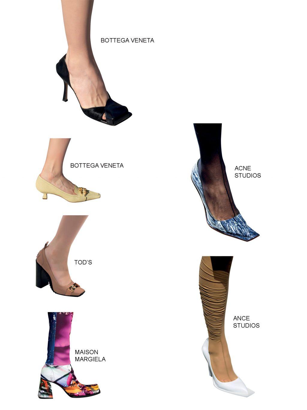 xu hướng phụ kiện giày mũi vuông