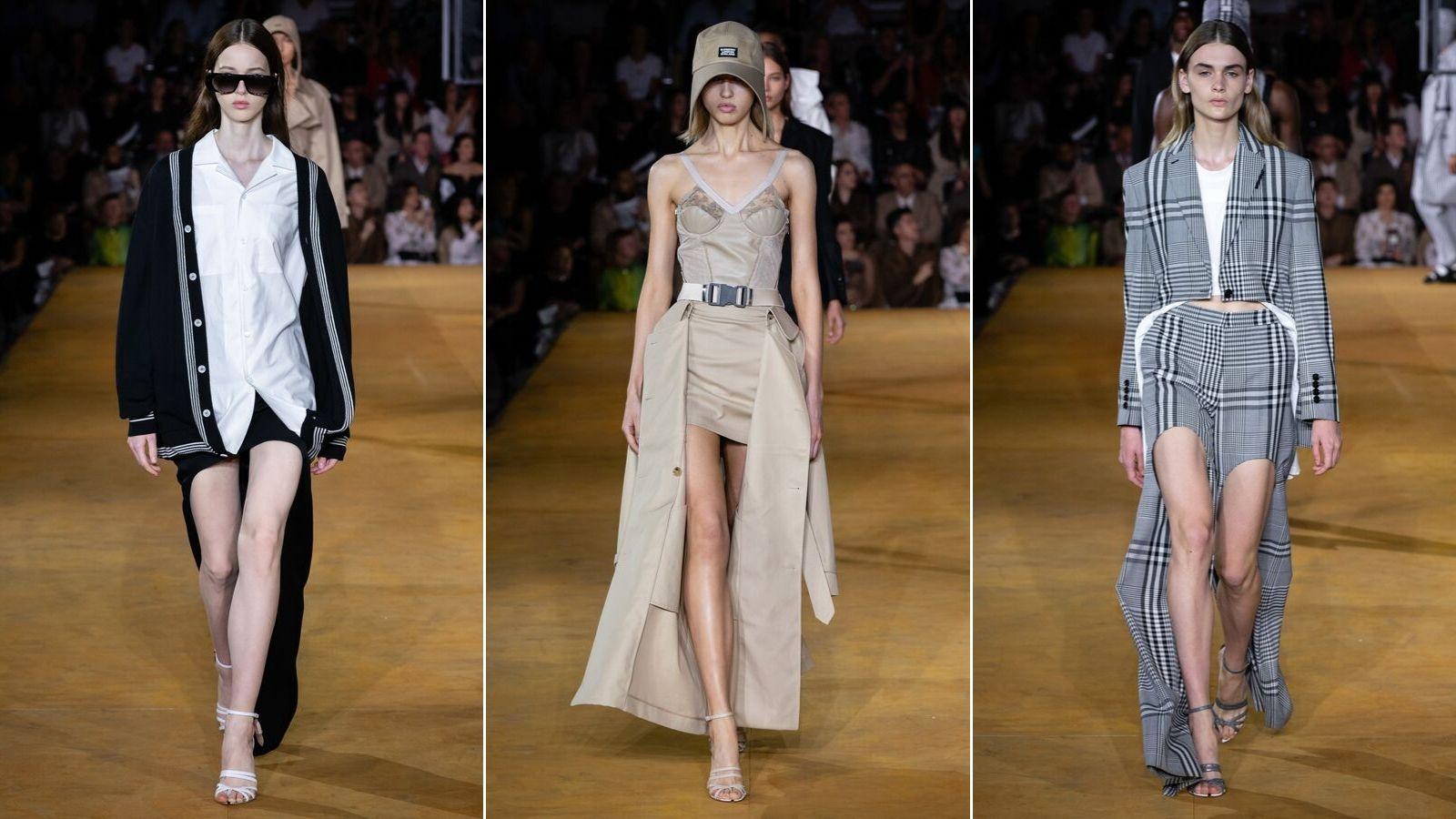 thiết kế bất đối xứng trong bộ sưu tập burberry xuân hè 2020