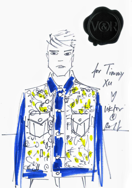 bản thiết kế áo khoác denim của Hứa Ngụy Châu