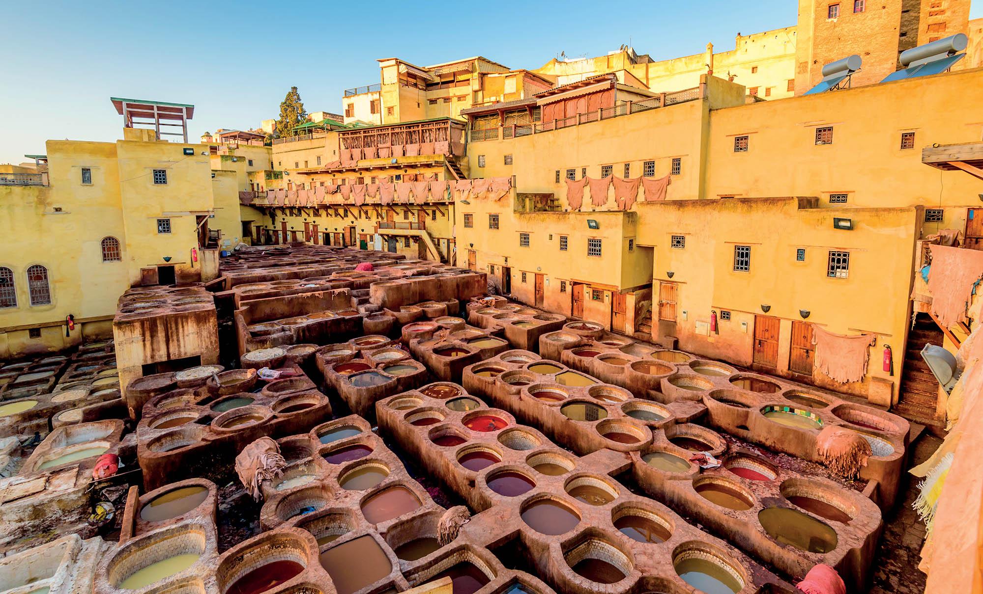 Morocco du lịch xưởng nhuộm da ở Fez