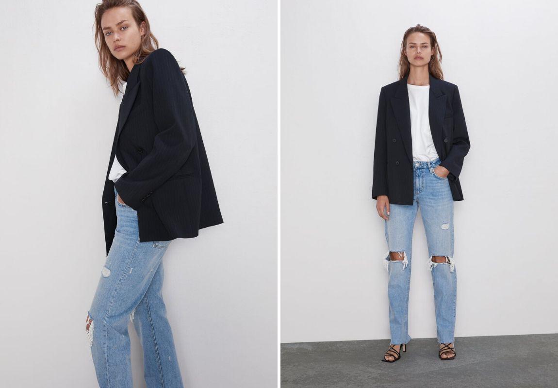 áo blazer Zara - phối đồ cùng jeans ống rộng