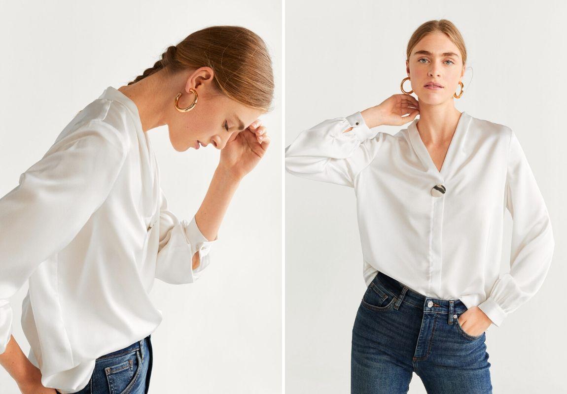 Áo sơmi Mango - cách phối đồ cùng jeans ống rộng