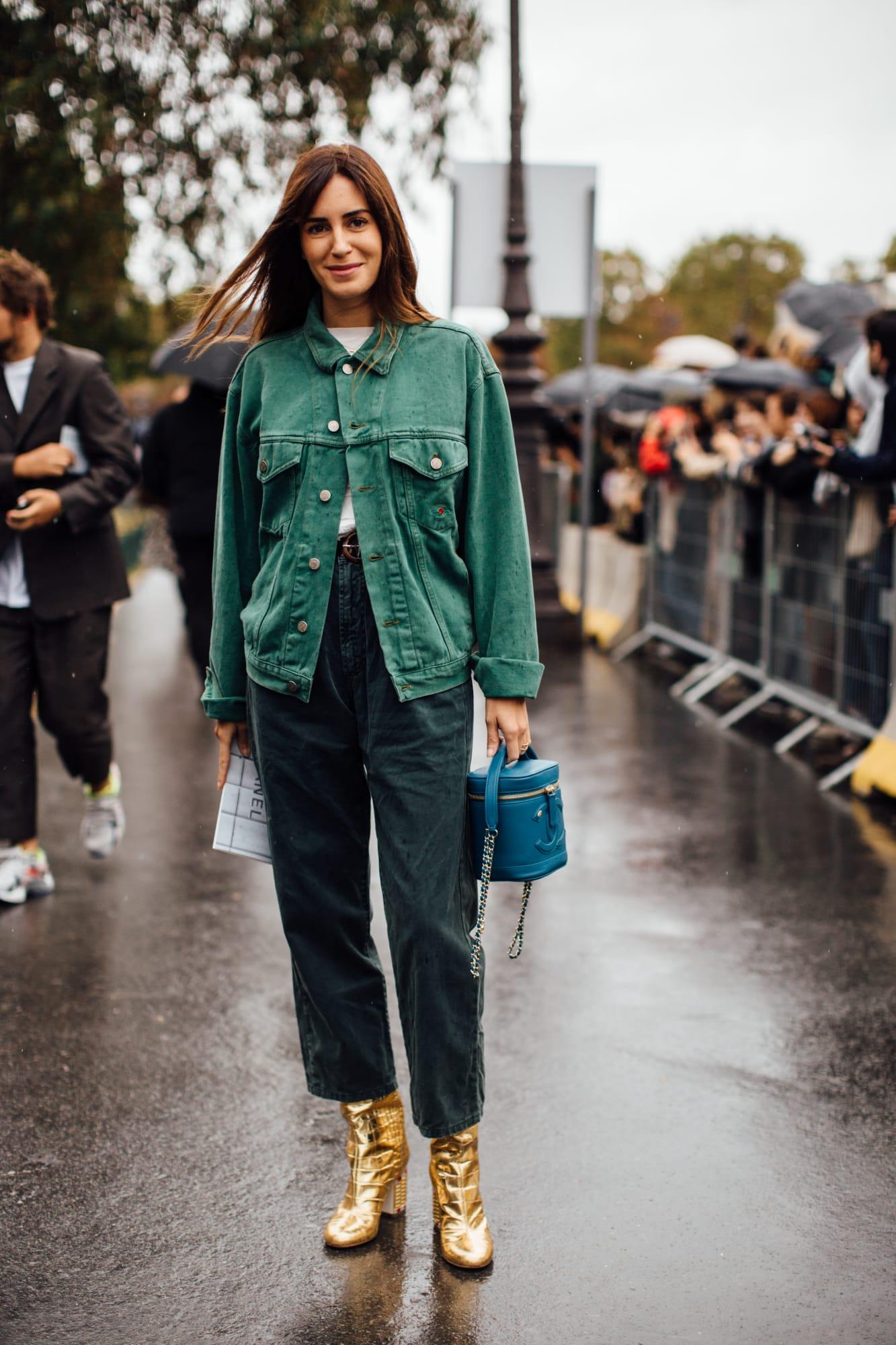 Áo khoác denim xanh lá