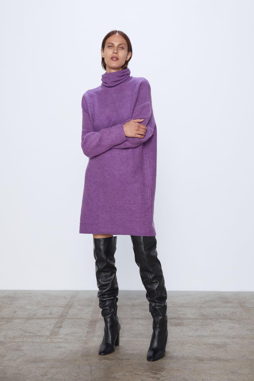 Đầm tím len cổ lọ của Zara