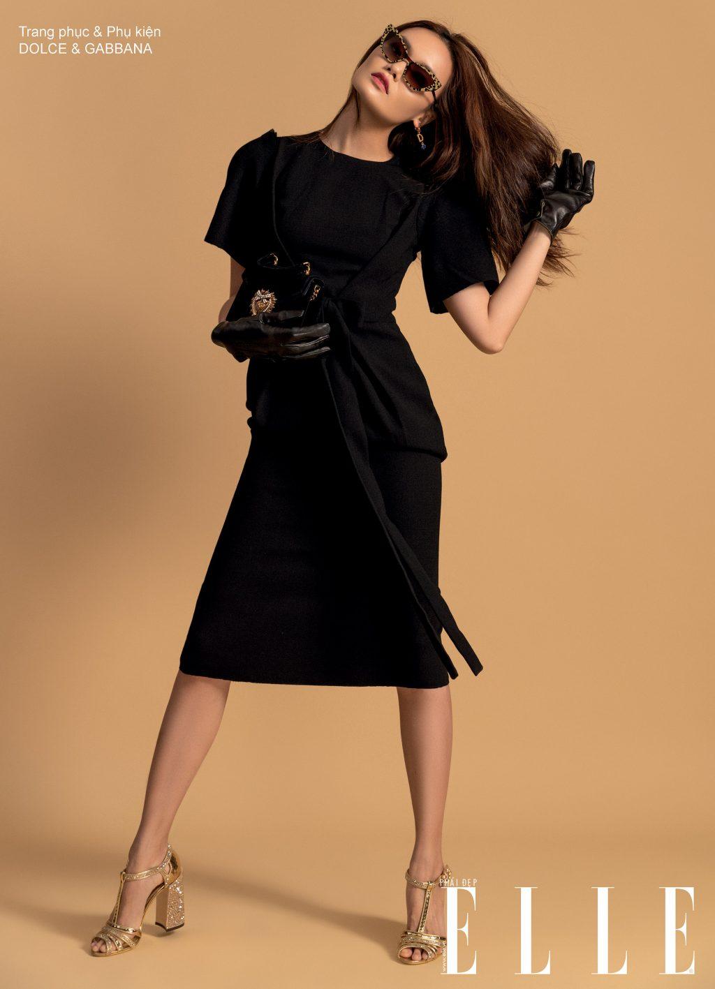 đầm đen và kính mắt đen Dolce & Gabbana