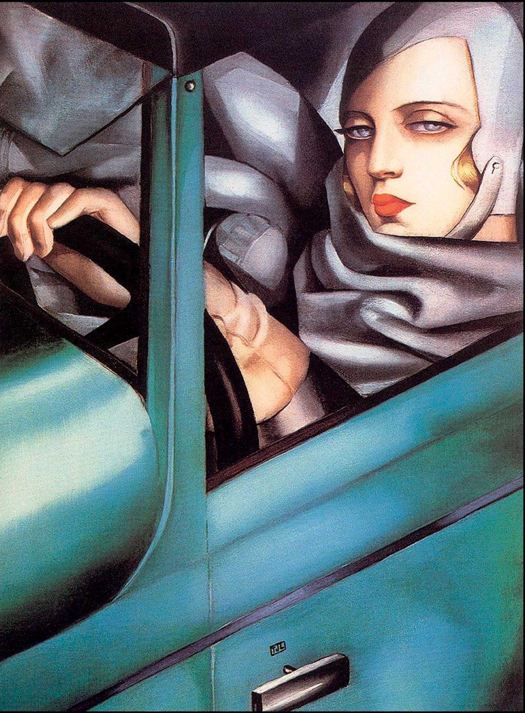 "Tác phẩm ""Self Portrait In A Green Bugatti"" (1929) của Tamara de Lempicka."