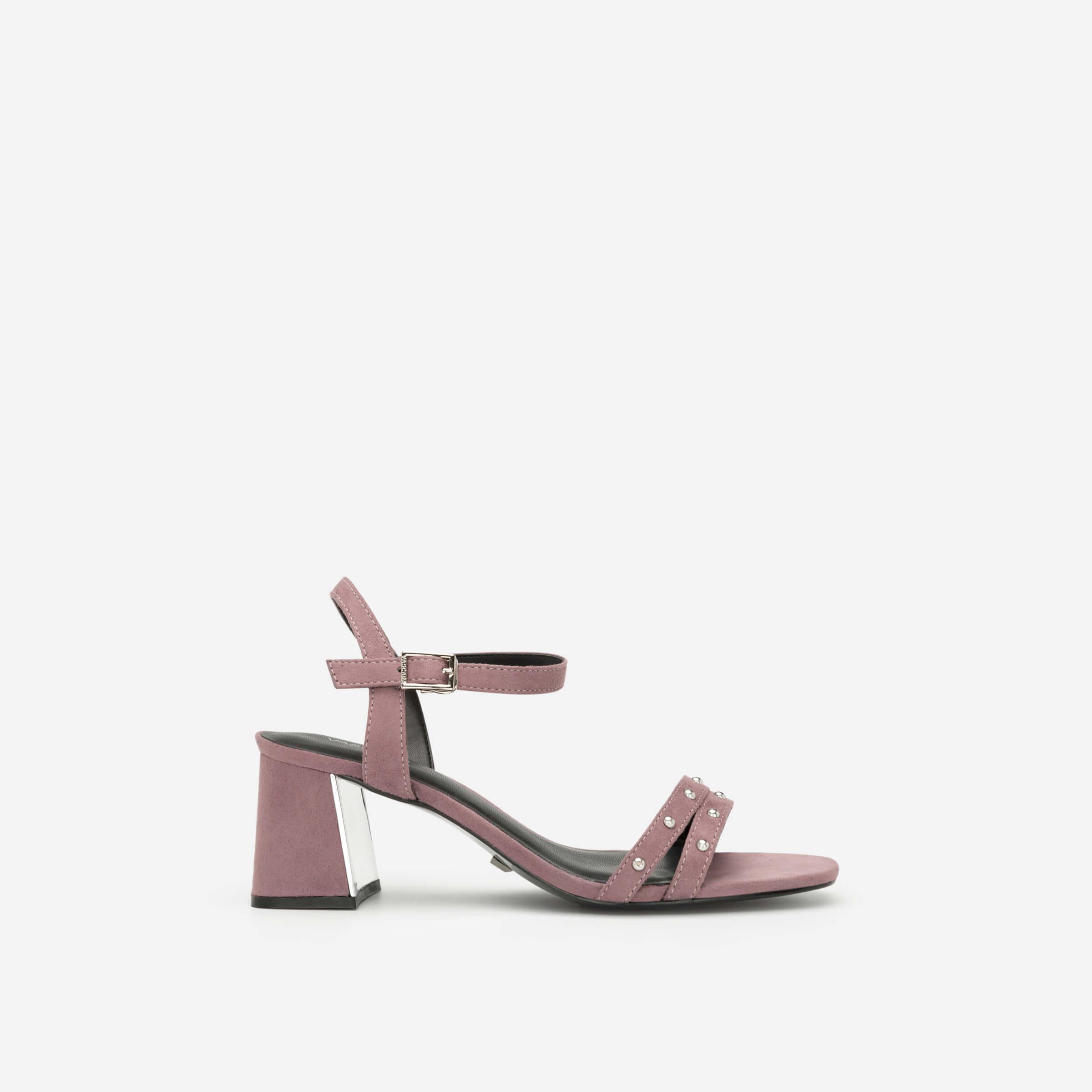 giày sandals cao gót đính đá màu tím vascara