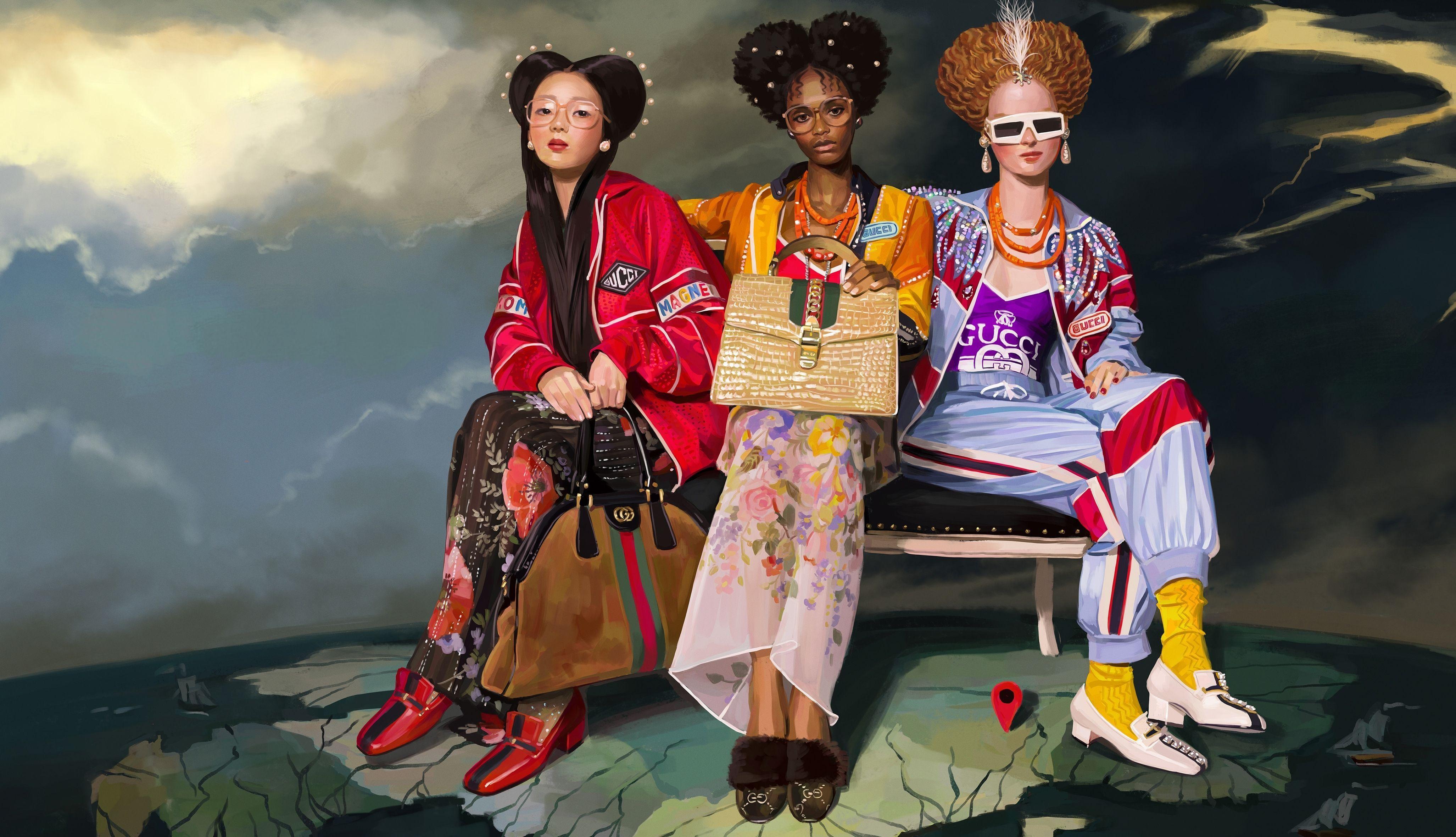 Chiến dịch quảng bá năm 2018 của thương hiệu Gucci dùng hình ảnh của những người mẫu thuộc nhiều chủng tộc khác nhau. - xu hướng ngành thời trang