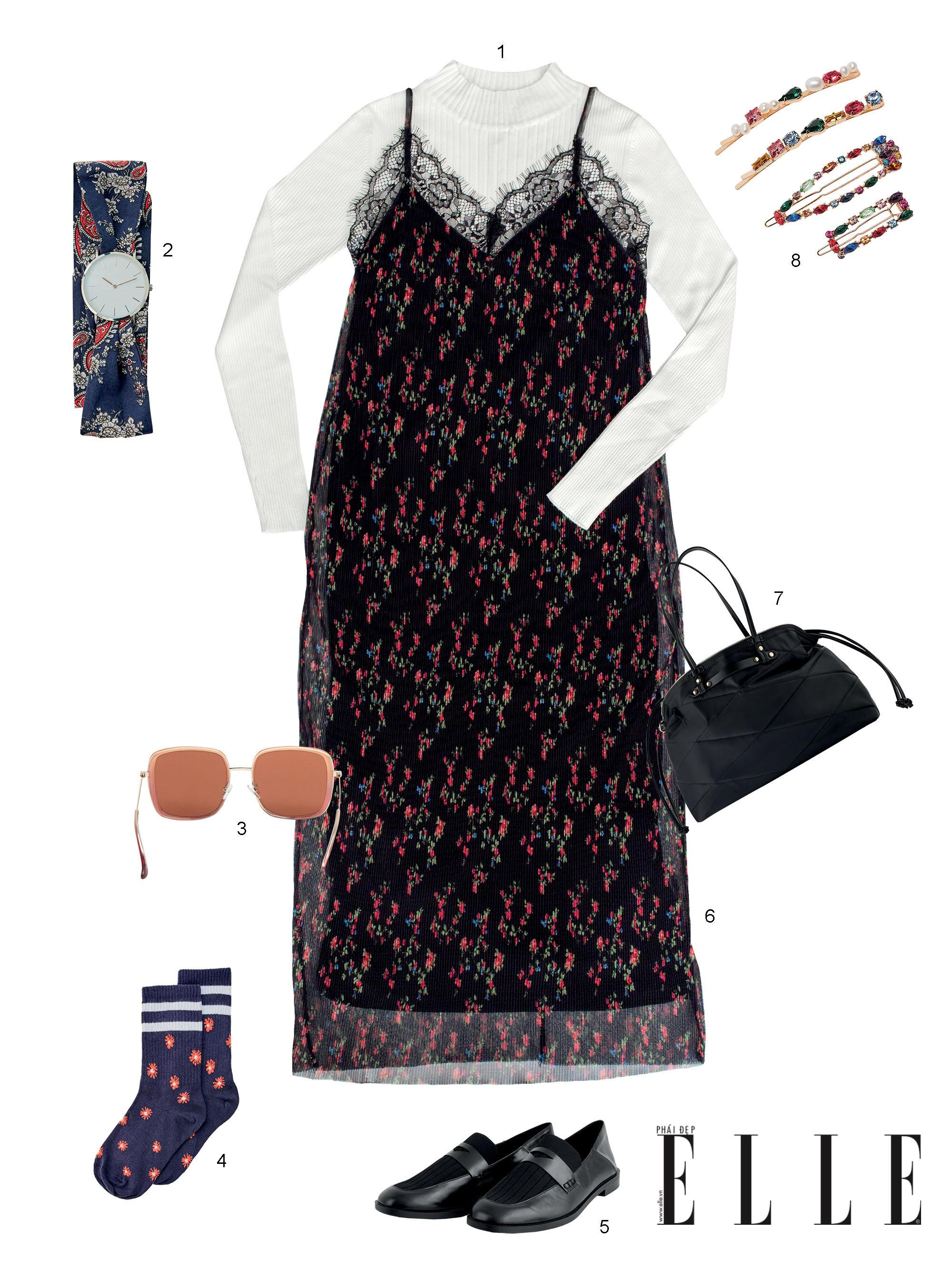 phối đồ với slip dress họa tiết hoa và áo len tay dài màu trắng