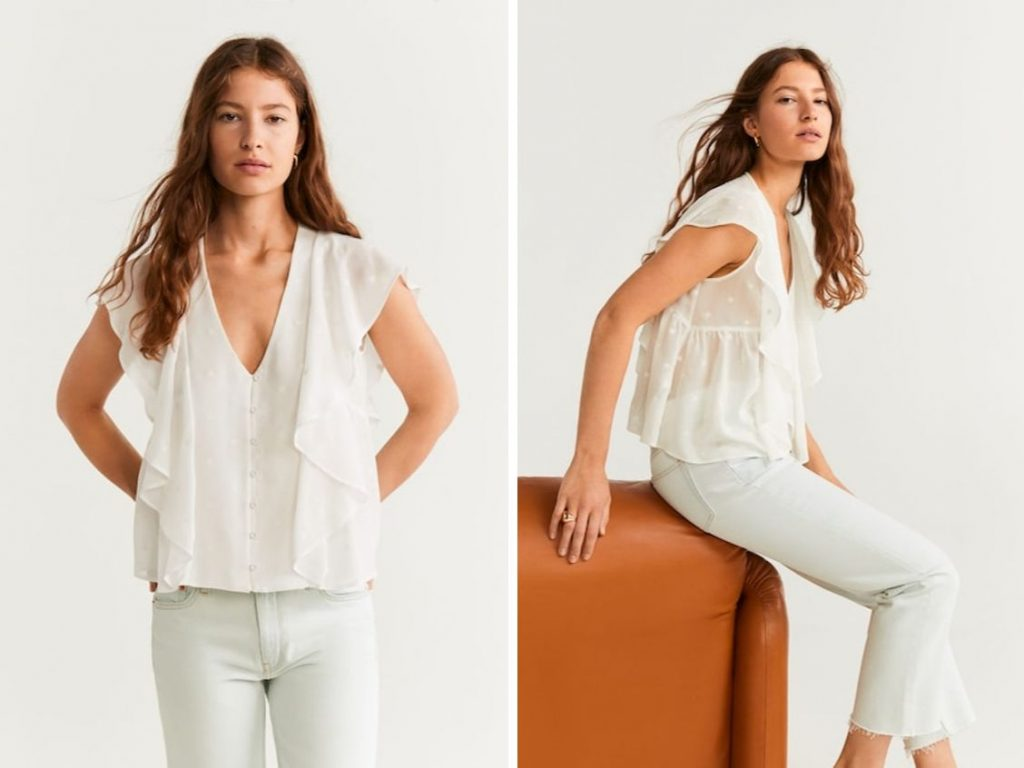 Thời trang công sở thu 2019 - áo sơ mi trắng phối bèo MANGO