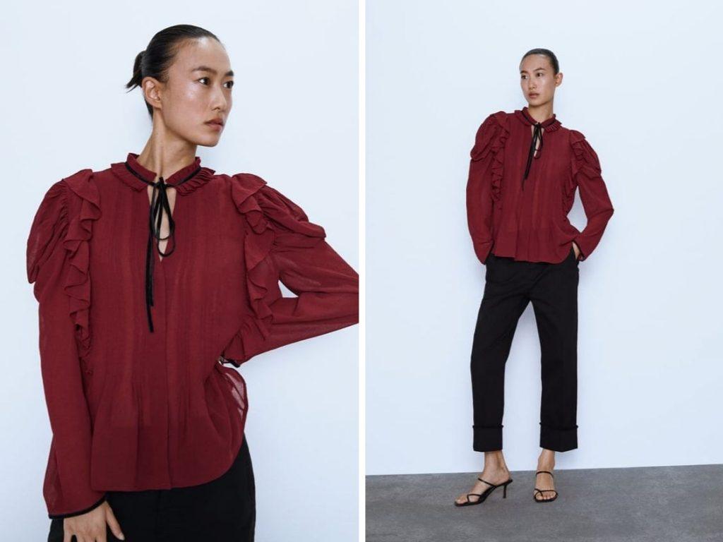 Thời trang công sở thu 2019 - áo sơ mi đỏ phối bèo ZARA