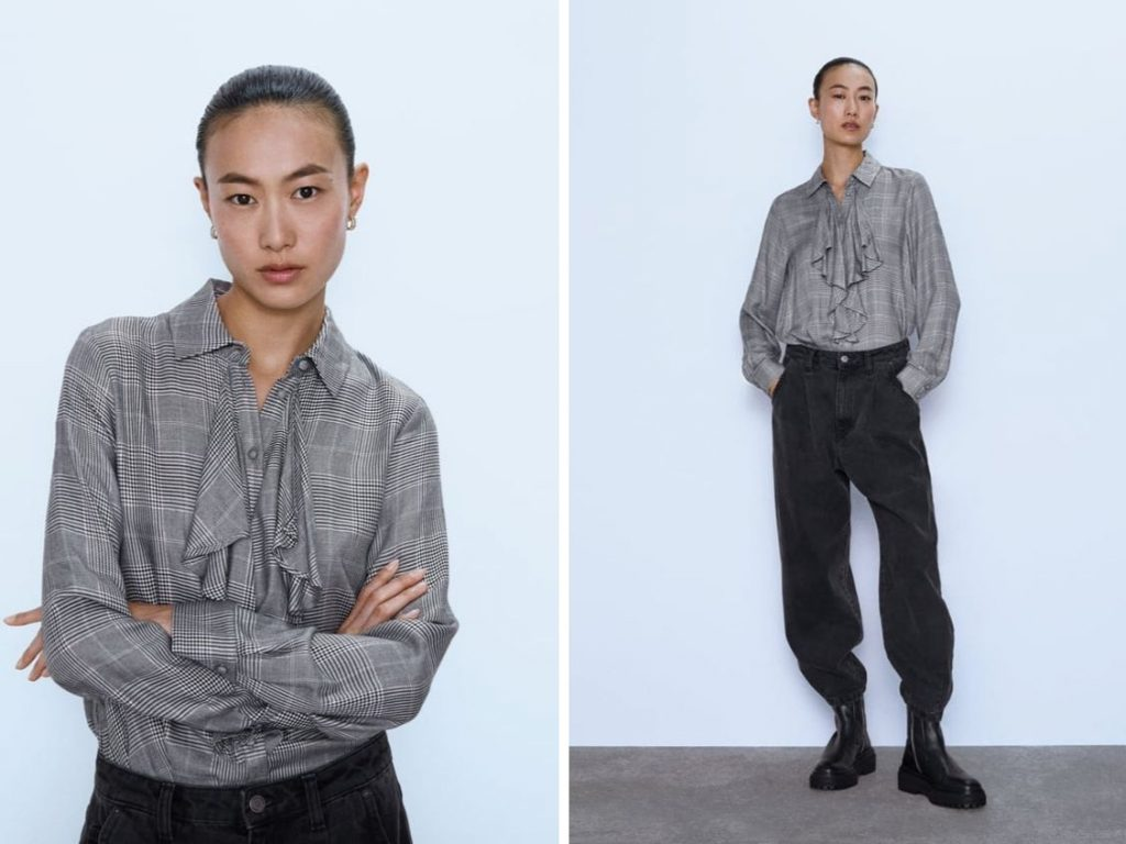 Thời trang công sở thu 2019 - áo sơ mi hoạ tiết phối bèo ZARA