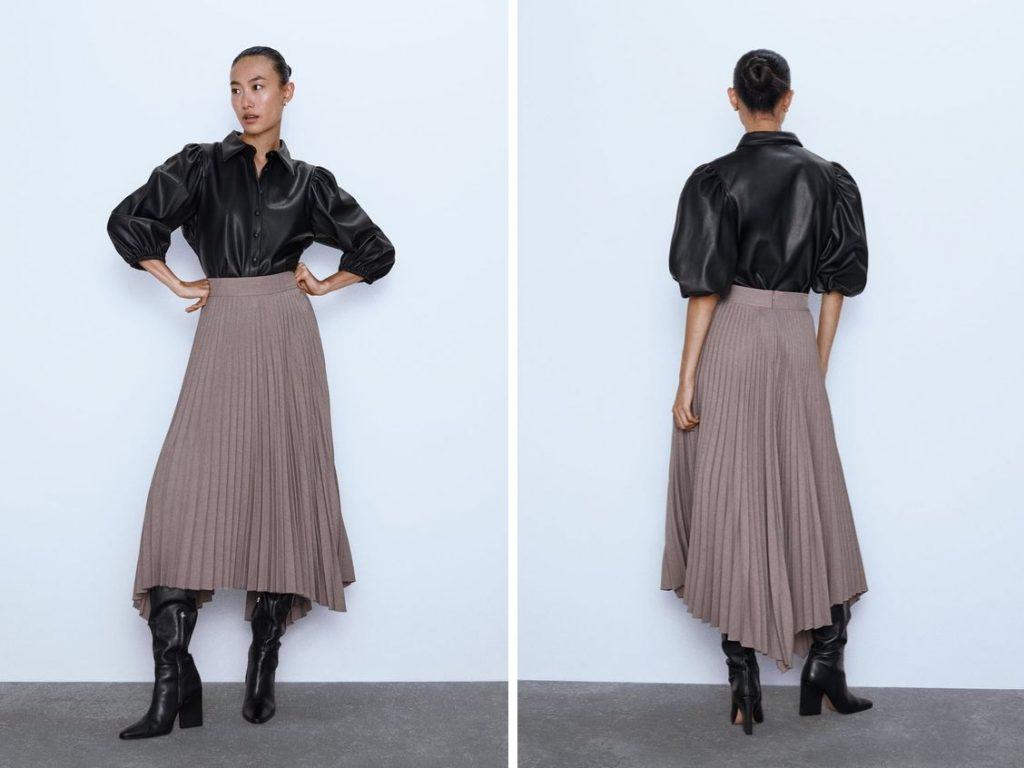 Thời trang công sở thu 2019 - chân váy xếp ly ZARA