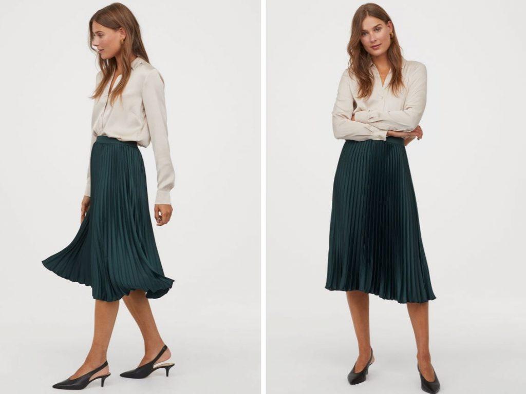 Thời trang công sở thu 2019 - chân váy xếp ly hm