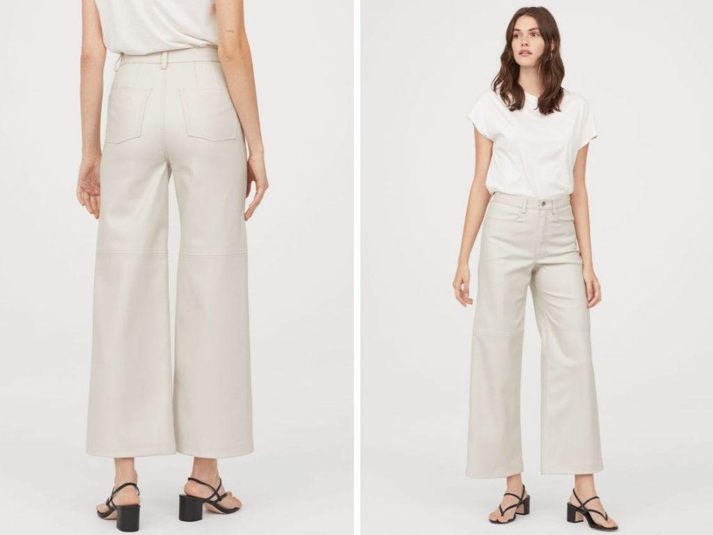 Thời trang công sở thu 2019 - H&M quần da trắng