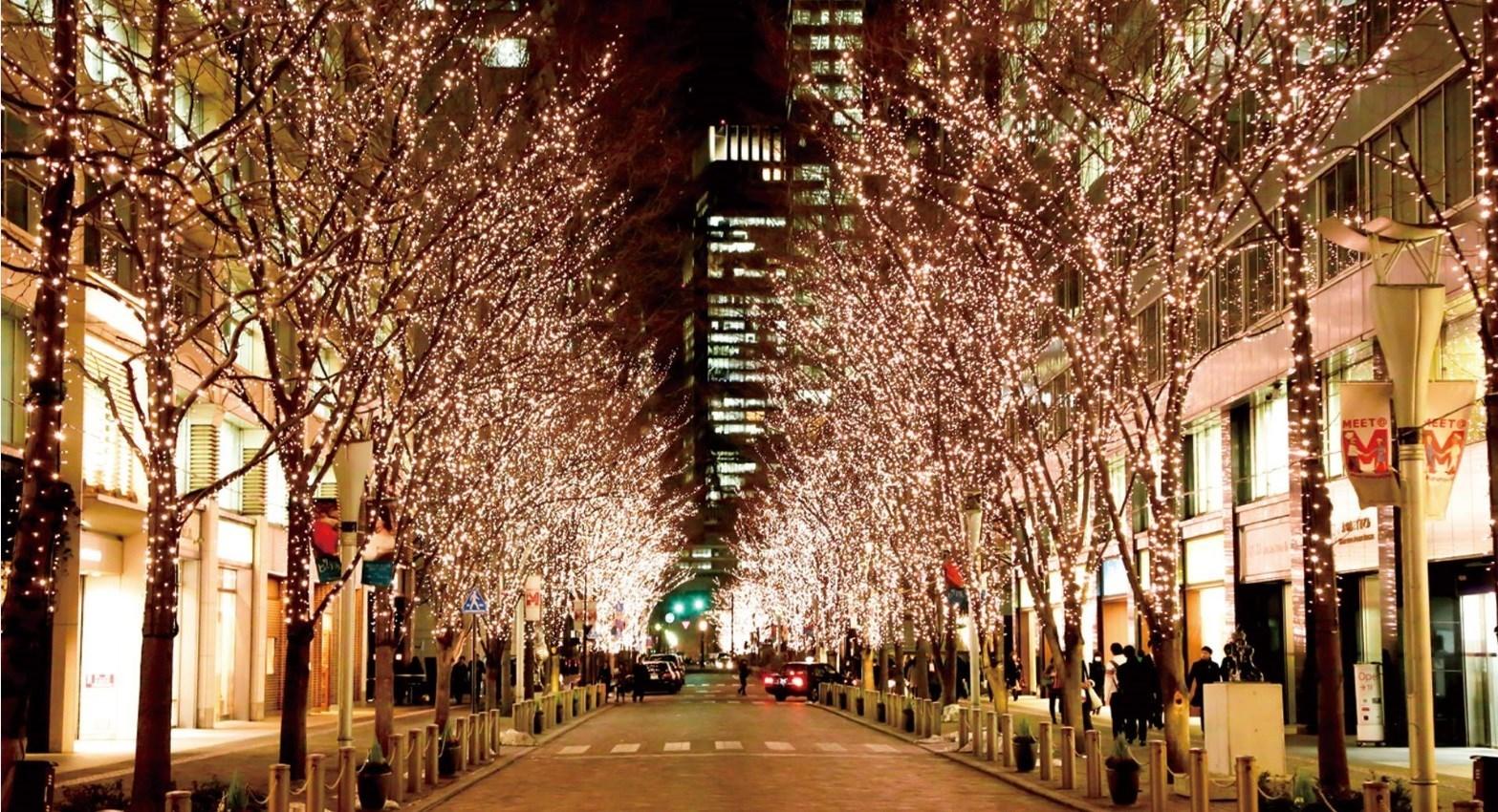 đường phố nhật bản mùa đông