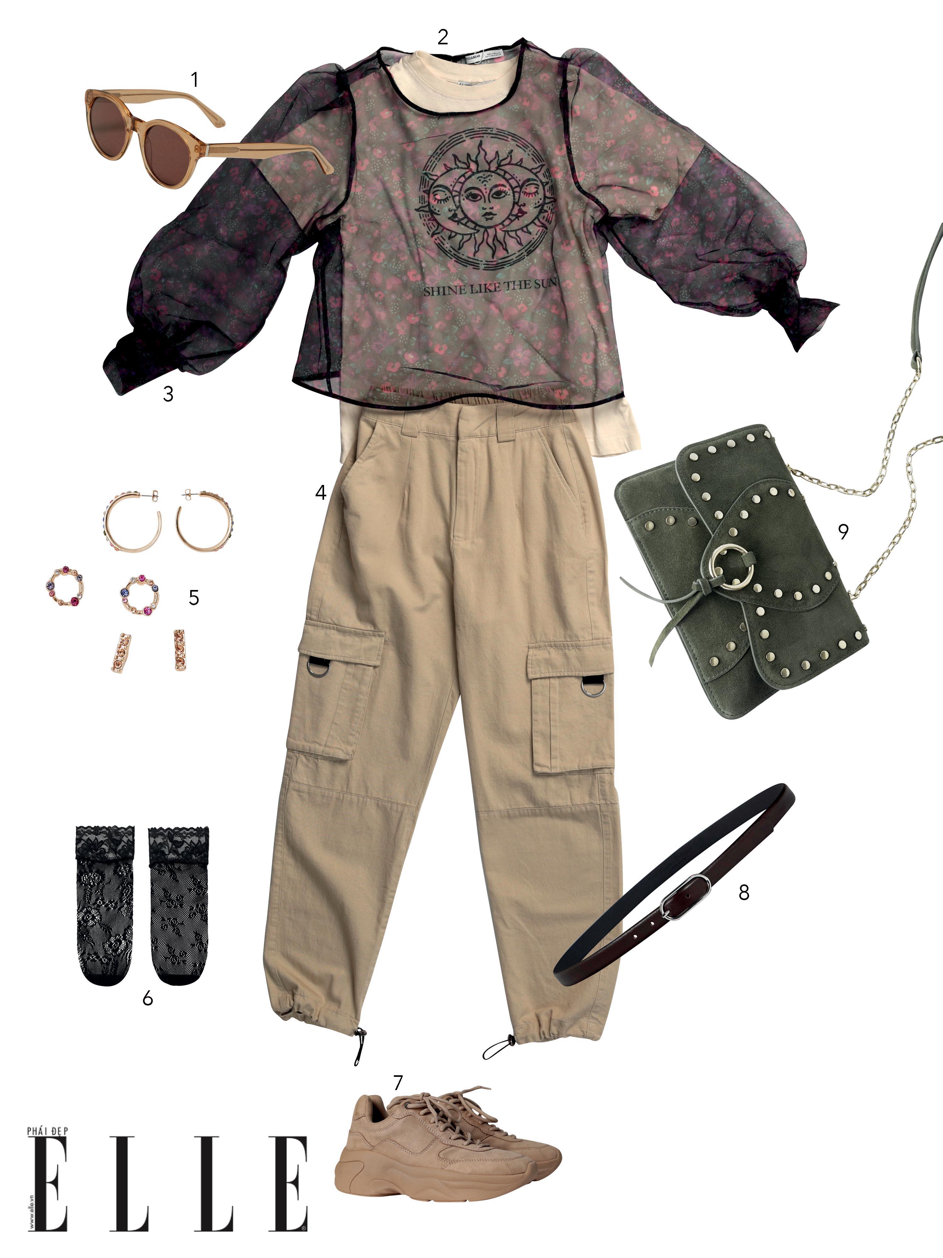 phong cách preppy với áo tay phồng kết hợp cùng phụ kiện kim loại