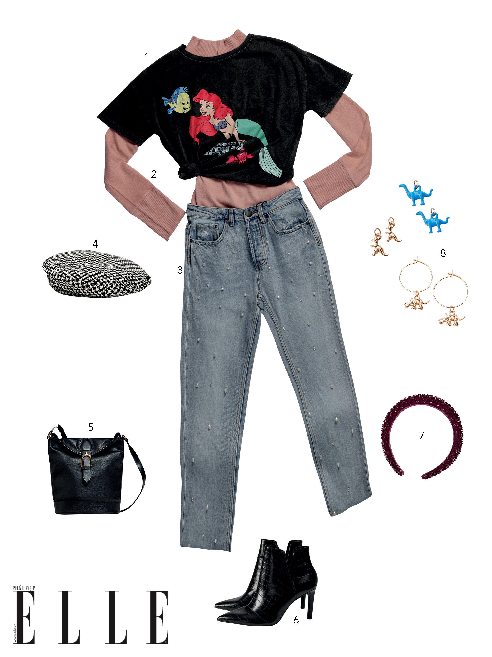 phong cách preppy với áo thun in hoạt hình và quần jeans