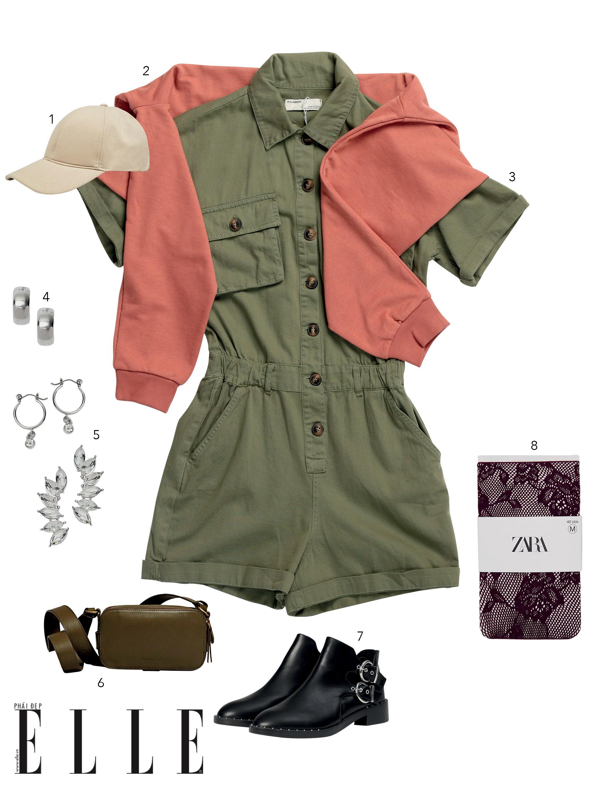phong cách preppy với jumpsuit màu xanh rêu và áo khoác hồng