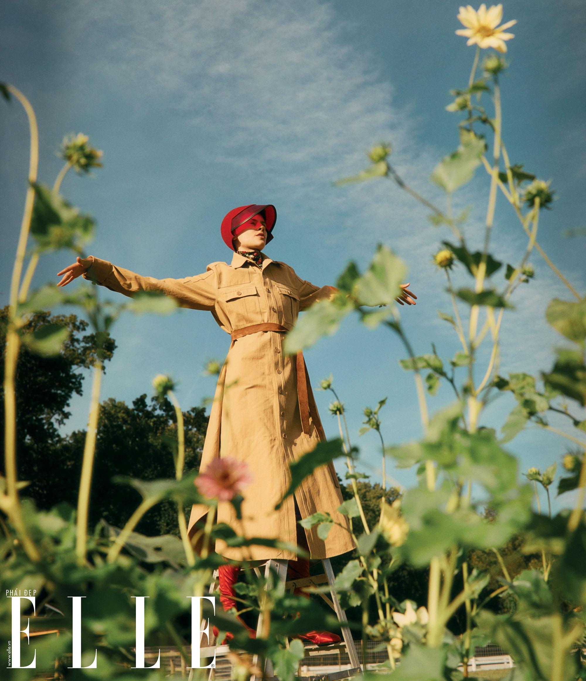 bộ ảnh người mẫu giang tay hít thở tại cánh đồng hoa cúc