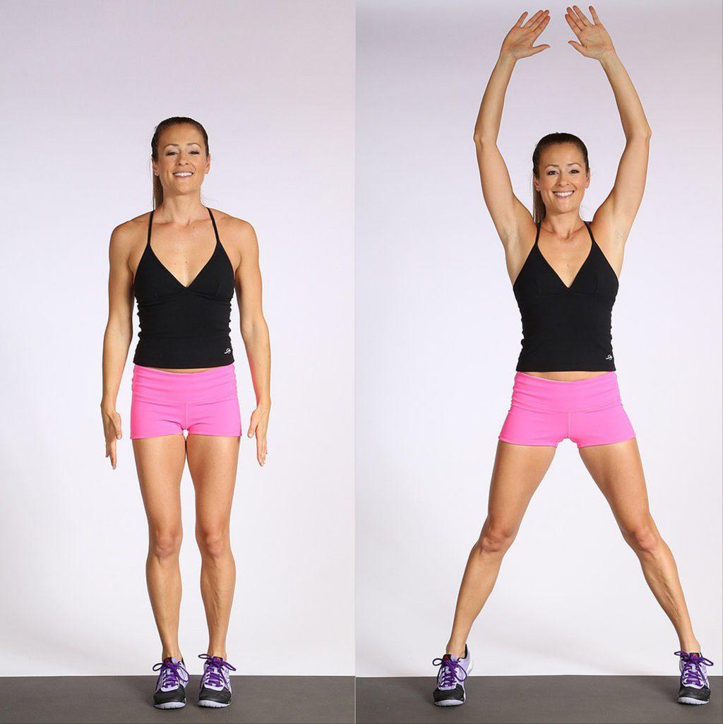 bài tập giảm mỡ bụng cô gái tập động tác jumping jack