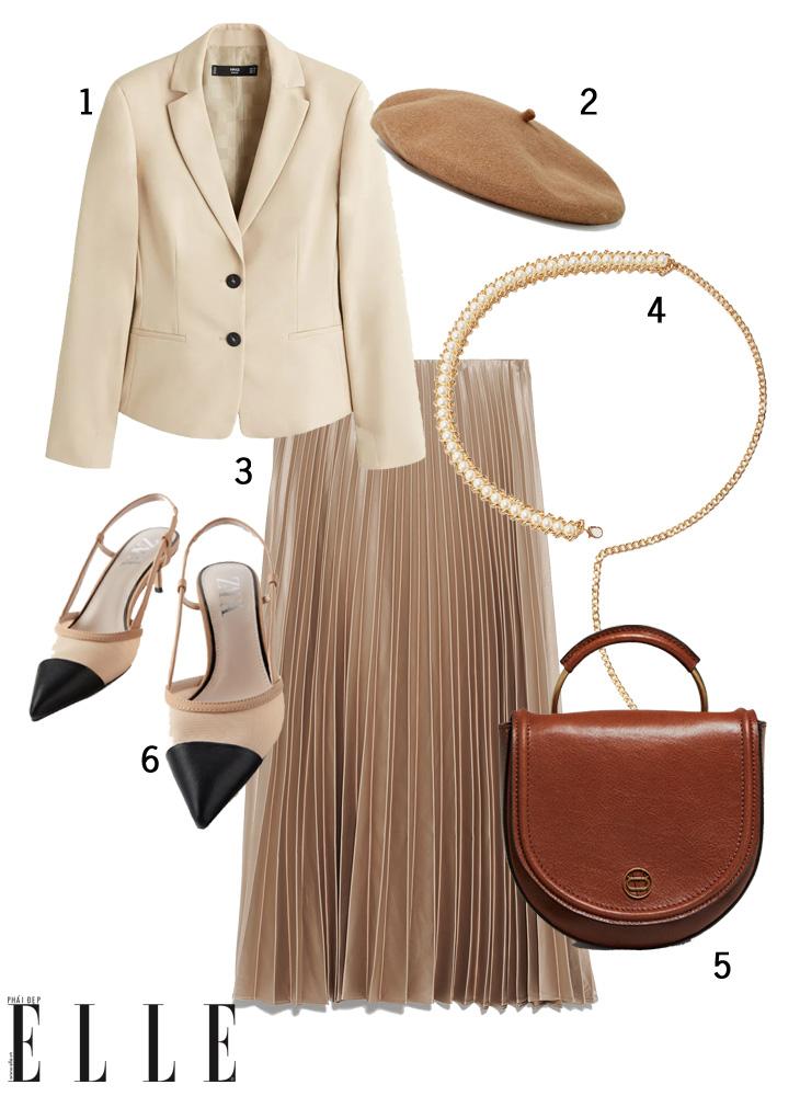 elle style calendar cách phối đồ với mũ beret và chân váy, áo blazer