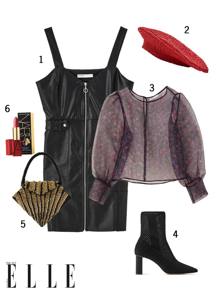 elle style calendar phối áo xuyên thấu với jumpsuit da và mũ beret