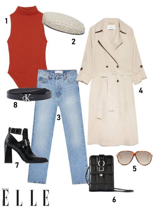 1. Bodysuit ZARA, 2. Mũ beret STRADIVARIUS, 3. Quần jeans STRADIVARIUS, 4. Áo trench coat STRADIVARIUS, 5. Kính MANGO, 6. Túi đeo chéo ZARA, 7. Boots ZARA, 8. Thắt lưng CALVIN KLEIN.<br/>elle style calendar cách phối đồ layer với trench coat, bodysuit và jeans