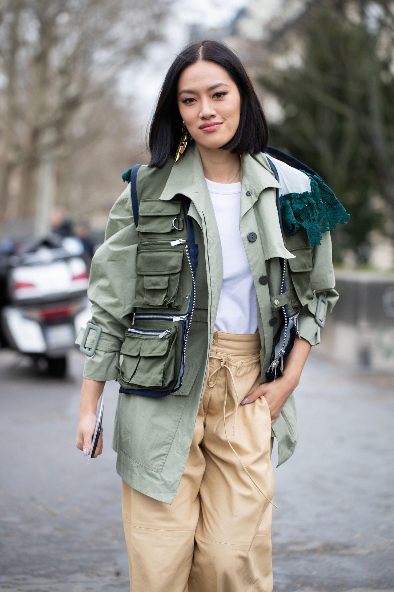 Áo khoác túi hộp xanh hồ trăn