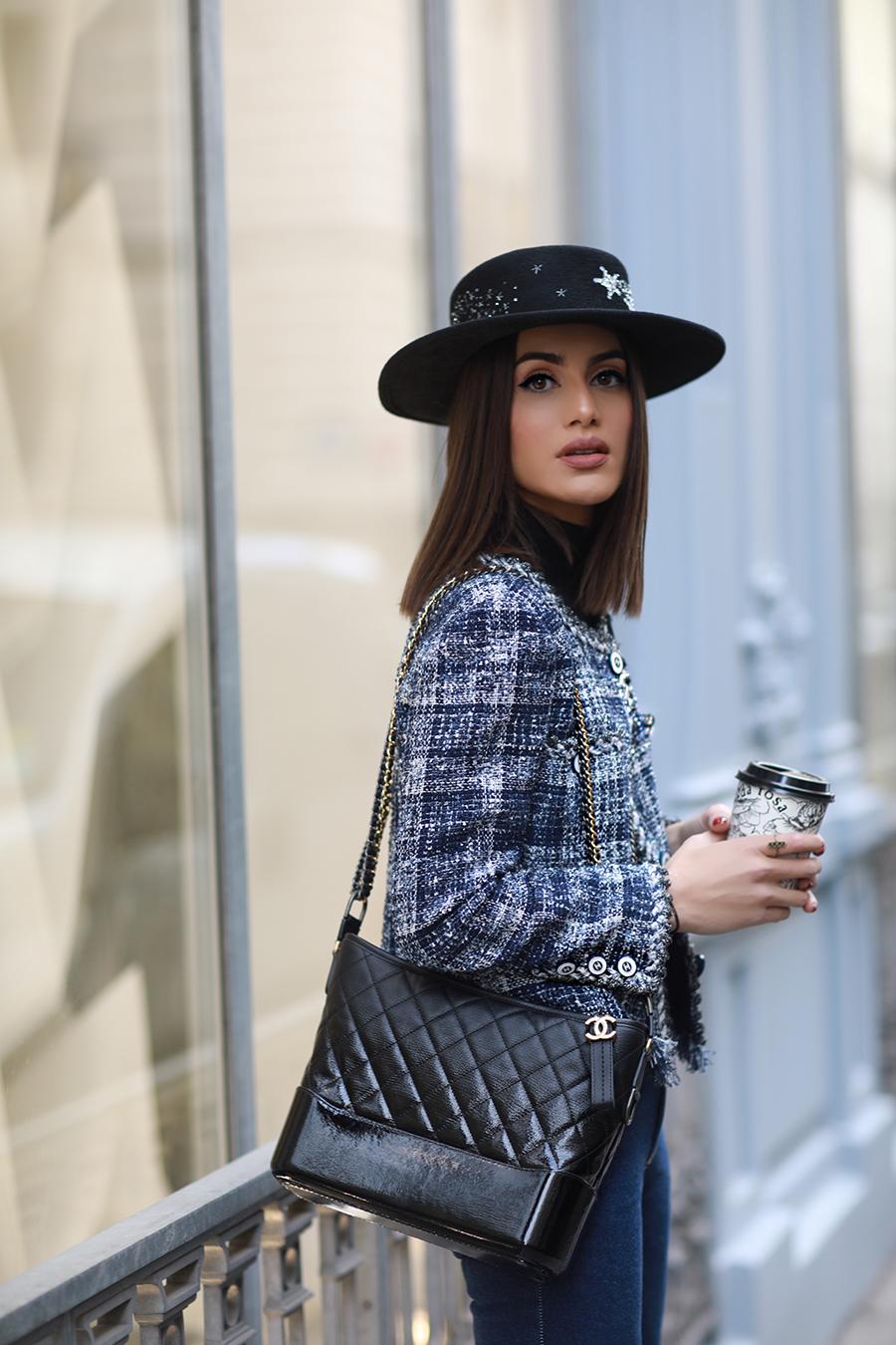 Camila Coelho mũ rộng vành chóp thấp mùa Đông