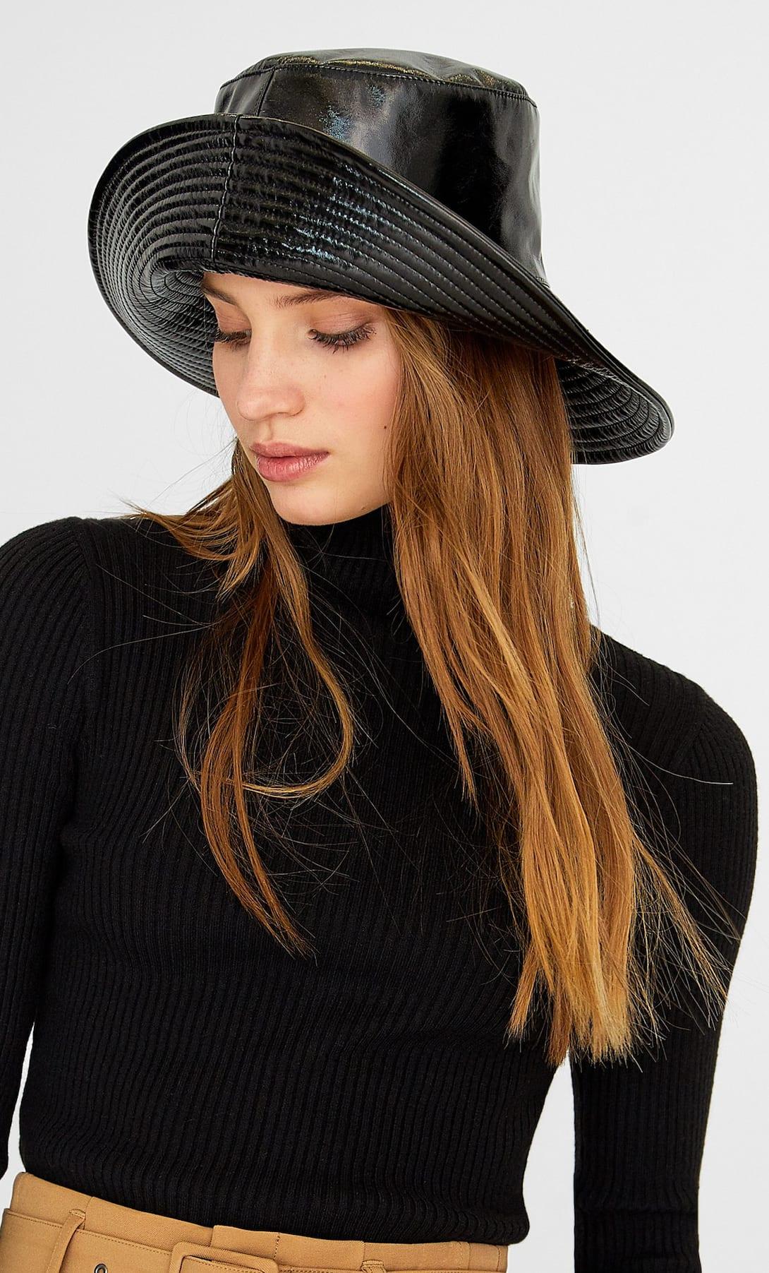 Mũ thời trang bucket da bóng mùa Đông