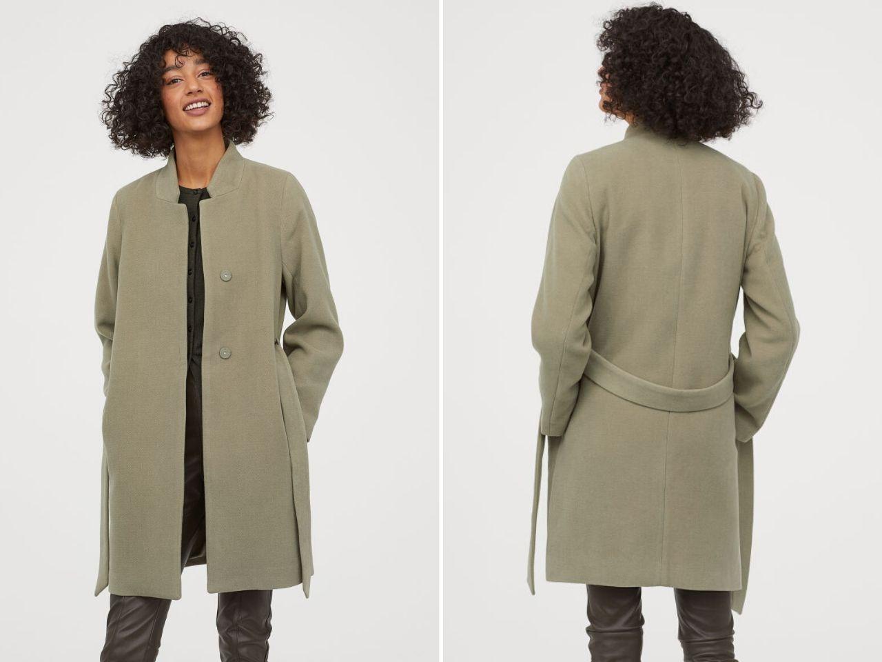 áo khoác kèm dây eo xanh nhạt - áo khoác thu đông