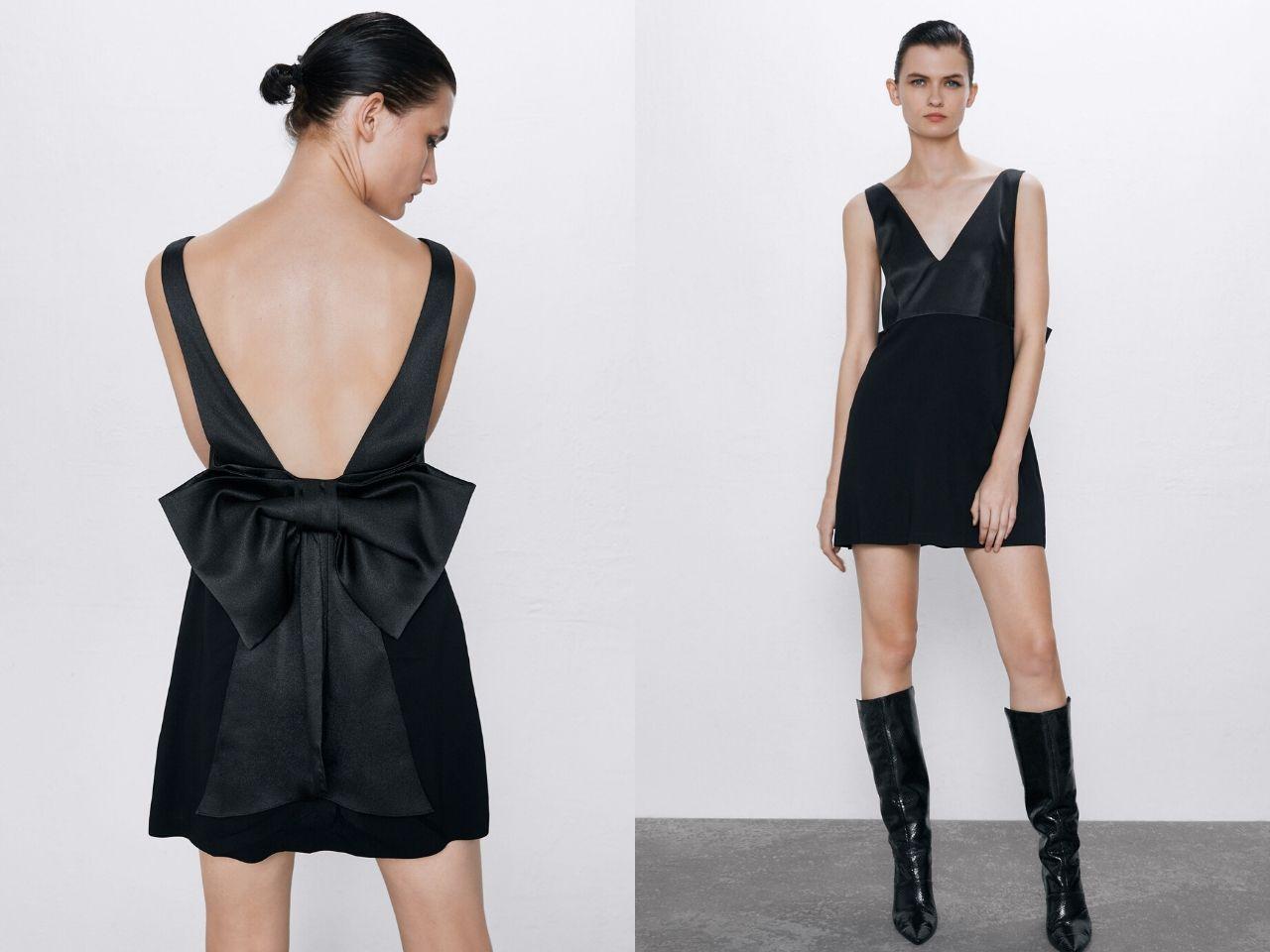 Đầm đen dự tiệc hở lưng thắt nơ Zara