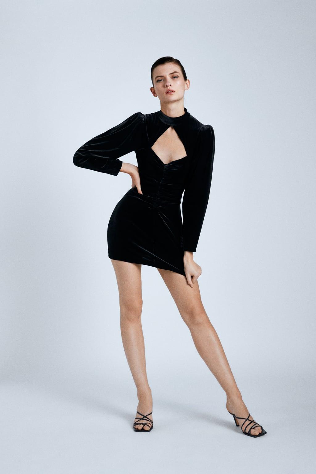 Đầm đen dự tiệc cut-out cổ Zara