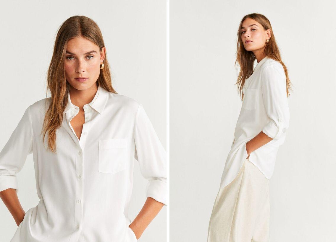 áo sơmi trắng oversized mango