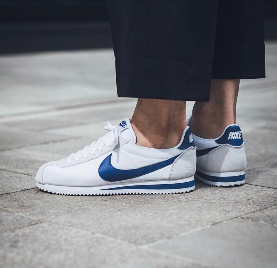 Nike Cortez trắng họa tiết màu classic blue