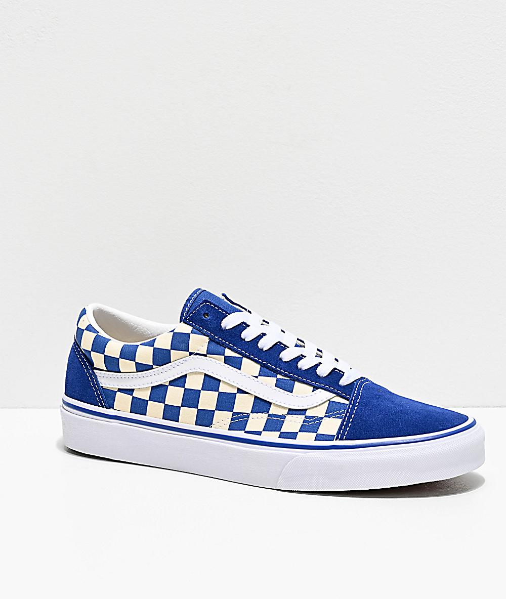 Giày Vans old skool màu classic blue họa tiết checkerboard