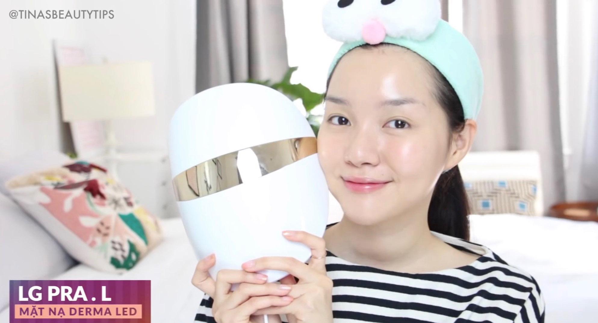 Youtuber Tinabeautytips cảm nhận mặt nạ công nghệ LG Derma LED