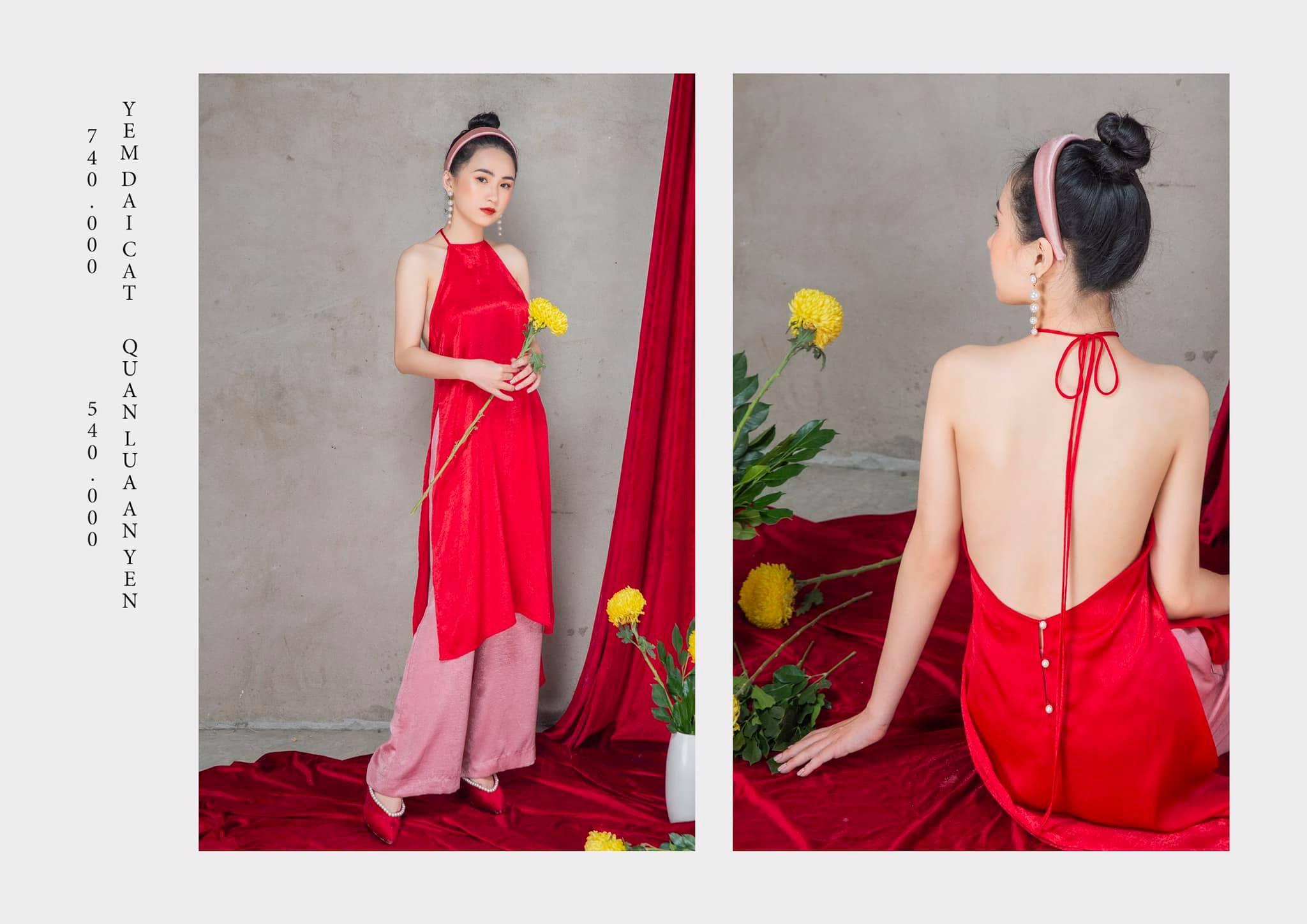 áo dài tết 2020 yếm ngọc cát tường đỏ