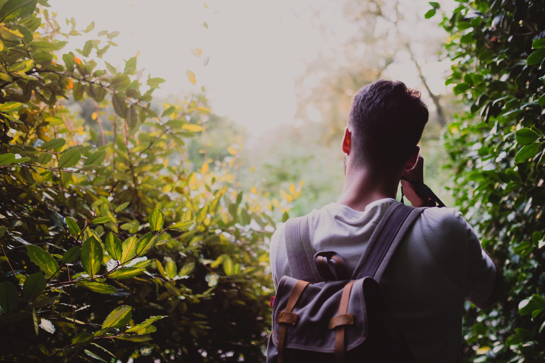 chàng trai chụp ảnh trong rừng