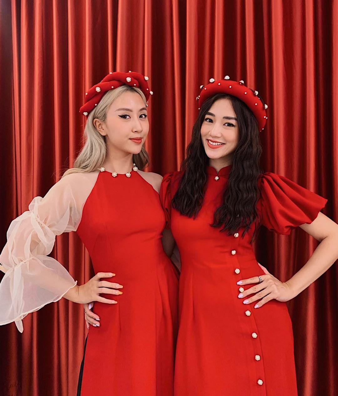 Quỳnh Anh Shyn và Salim mặc áo dài đỏ rực rỡ đón Tết