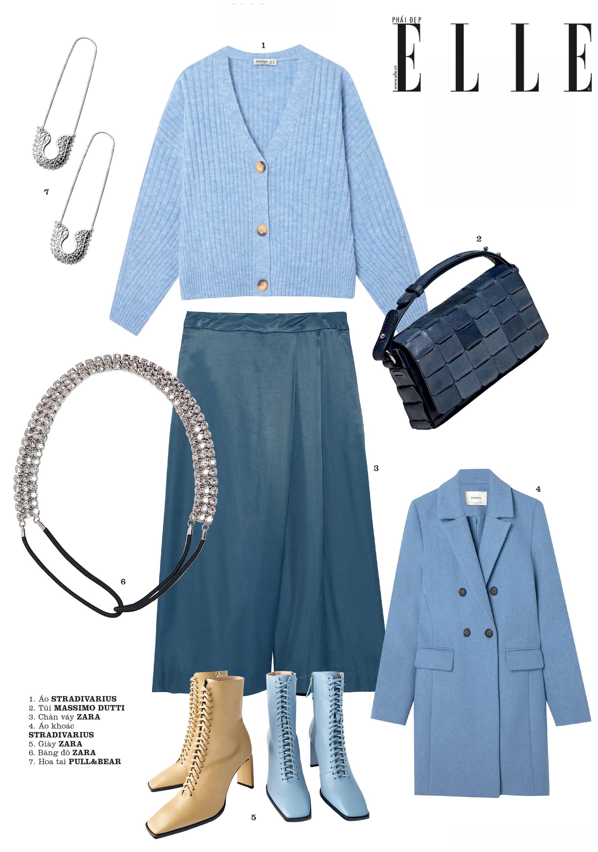 phong cách thời trang màu xanh của năm 2020