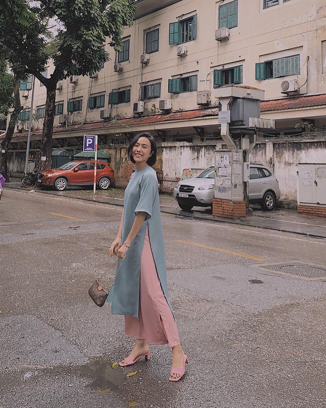 Diệu Nhi mặc áo dài retro đón Tết